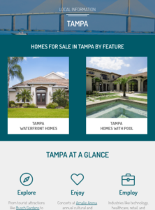 screenshot of Tampa area page