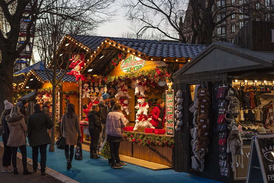 An outdoor Christmas market winter event.