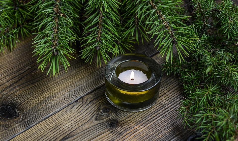 A small candle surrounded by holiday greenery.